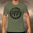 Gym Spartan Logo Military Green T Shirt Fitness Muscle Boxing MMA Army Ironman
