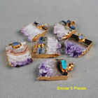 5Pcs Gold Plated Natural Amethyst Slice & Druzy Agate Pendant / Necklace GG0145