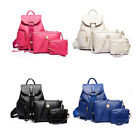 New 3-Piece Embossing Grain Double Pockets Double-shoulder PU Backpack Handbag