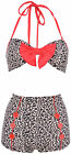 Küstenluder SYBILLE 50s RETRO Leoparden Pin Up BIKINI Set - Rot Rockabilly