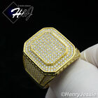 MEN 925 STERLING SILVER LAB DIAMOND ICED OUT BLING GOLD RING*GR60