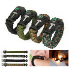 Survival Paracord Bracelet Outdoor Flint Fire Starter Scraper Whistle Compass