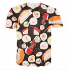 New Unisex Women Men Delicious Sushi Casual Print 3D Short Sleeve Casual T-Shirt