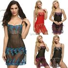 Women Sexy Strap Embroidery See-through Lingerie Set Babydoll Sleepwear DZ88