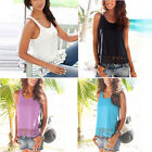 Sexy Women Ladies Summer Vest Top Sleeveless Lace Loose Blouse Tank Tops T-Shirt