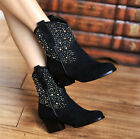 Womens Ladies Luxury Real Cow Leather Shiny Diamante Mid-Heel Ankle Boots Shoes