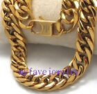 Never Fade IP Gold 316L Stainless Steel Necklace 10mm Curb Cuban HAND POLISHED