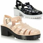 Womens Ladies Girls Chunky Heel Low Heel Flat Cut Out Jelly Sandals Jellie Shoes