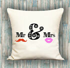 Mr & Mrs PERSONALISED LUXURY CUSHION COVER YOUR TEXT, PERFECT GIFT IDEA