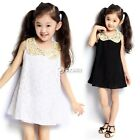 1pc Baby Girls Kids Sequins Doll Neck Sleeveless Skirt Lace Party Dress Clothing