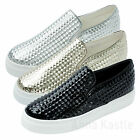 AnnaKastle New Womens Shiny Pyramid Emboss Slip Ons Sneaker US 5 6 7 8