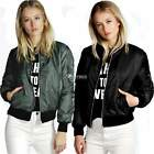 Womens Ladies Vintage Zip Up Classic Padded Bomber Jacket Biker Coat Stylish DZ8