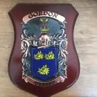 GORDON Family Handpainted Coat of Arms PLAQUE Shield 50.000 names available