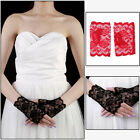 Women Vinatge Wedding Short lace Etiquette bride fingerless gloves for Party
