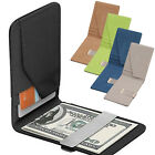 New Mens Faux Leather Wallet Silver Money Clip Slim Black ID Credit Card Holder