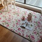 Romantic American Country Style Floral Room Floor Mats Sweet Rose Print Carpets