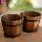 Wooden Round Barrel Planter Flower Pots Home Office Garden Wedding Decor chic