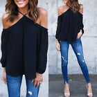 Women Chiffon Off-shoulder Long Sleeve Sexy Top Blouse T-shirt Summer Tops AS