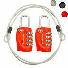 2x Lumintrail TSA Security 4 Dial Combination Lock Padlock Cable Travel Luggage