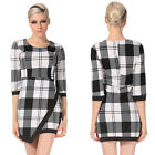 Women Lady round-Neck 3/4 Sleeve High Waist plaid OL Casual mini pencil dress