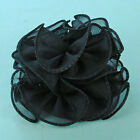 Small 3 to 4 Inch Puffy Ruffled Chiffon Claw Clip Hair Bows - H715