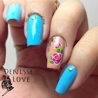 Nail Art Water Decals Transfer Stickers Pink Purple Floral Manicure Decoration