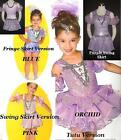 On A Mission Dance Costume Blue Tank Leotard,Tutu and Arm Puffs Child Large Solo