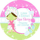 1x A4 sheet Personalised Spa Sleepover Slumber Party Bags Stickers Labels
