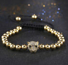 New Fashion Mens Womens Leopard Beads Chain Bracelet Wristband