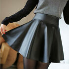 Women Faux Leather High Waist Skater Flared Pleated Short Mini Skirt Cuddly