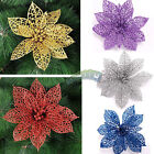 Christmas Large 15cm Hollow Glitter Flower Clip On Decoration Party Ornaments