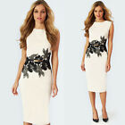 New Womens Elegant Slim Sleeveless Printed Business Party Clubwear Pencil Dress