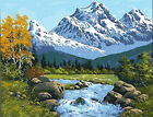Snow Mountain River Landscape Beautiful Needlepoint Canvas 302