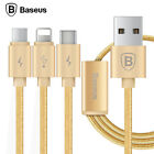 BASEUS 3in1 8Pin Lightning+Micro USB+Type C Charging Sync Data Cable Universal