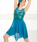 In Stock TEAL Feature Tank Top Sequin Short Lyrical Contemporary Dress Dance