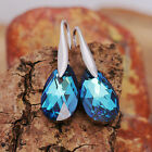 925 Sterling Silver Drop Earrings Swarovski Elements Crystal Teardrop w Gift Box