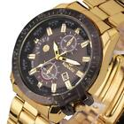 Luxury Mens Black Dial Date Gold Stainless Steel Quartz Analog Sport Wrist Watch