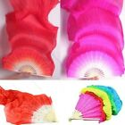 5 Colors Colorful Hand Made Belly Dance Dancing Silk Bamboo Long Fans Veils USJR