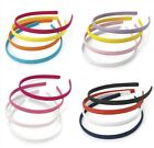 Set of 4 Plain Fabric Covered Alice Bands Hair Bands Headbands - Colour Choice