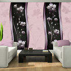 Photo Wallpaper FLOWER FLOWERS PINK STRIPES STRIPED Wall Mural (2615VE)