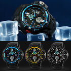 Men's Sport Waterproof Digital Analog Dual Time Alarm Date Wrist Watch Sanwood