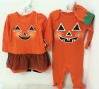 New Baby Halloween Outfits Boy or Girl 3-6 and 6-9 Months Orange Pumpkin Jack