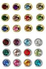 6 / 12 Pairs Studex Plus Ear Piercing Stud Earrings Birthstones Plain Steel Gold