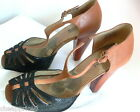 Kenneth Cole Reaction Sandals Leather Shoes Black Brown Size 7.5 M Well Worn