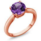 1.10 Ct Round Purple Amethyst 18K Rose Gold Ring