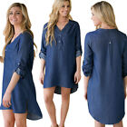 Women Fashion Casual Party Denim Round Neck Loose Short Dress Long Shirt Tops