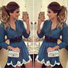 New Womens Sexy Bodycon Long Sleeve Casual LACE Cocktail Party Short Mini Dress