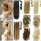 100% Real NEW Clip In human Hair Extension Pony Tail Wrap Around Ponytail LA01