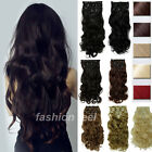 Super Sale 8Pcs/set Full Head Clip in Hair Extensions Wavy Straight Style su78