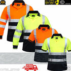 HI VIS VIZ HIGH VISIBILITY POLO SHIRT T-SHIRT TOP 2 TWO TONE SHORT LONG SLEEVES